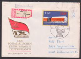 Germany 1,- Mark Palast Der Republik Mit Staastswappen, DDR FDC 2125, R-Brief Marke Aus Block 45, Berlin ZPA (714) - [6] Oost-Duitsland