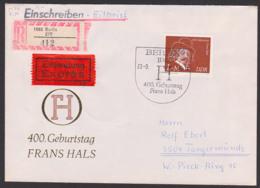 Frans Hals, Germany, DDR FDC 2547, R-Eil-Brief Marke Aus Block 71, Portogenau SoSt. 400. Geburtstag, Berlin ZPF (412) - FDC: Briefe