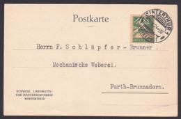 Winterthur Helvetia Schweiz Perfin Hammer, Schlägel, Schweiz. Lokomotiv- Und Maschinenfabrik 29.10.24, Furth-Brunnadern - Zwitserland