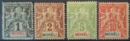 MOHÉLI 1906/07 - MLH - YT 1, 2, 4, 5 - 1c 2c 5c 10c - Nuovi