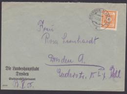 Saxonie SBZ Ostsachsen 8 Pf. MiNr. 59 Dresden-Blasewitz 24.12.45, Behörde  Die Landeshauptstadt Stadtwohlfahrtsamt - Soviet Zone