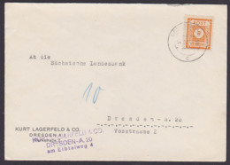 Saxonie SBZ Ostsachsen 8 Pf. MiNr. 59 Dresden A42 14.12.45, An Sächsiche Landesbank, Abs. Kurt Lagerfeld & Co. - Soviet Zone