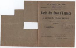 Carte Des Bons D'essence/chauffage Et éclairage Domestiques/Ivry La Bataille/Eure/Etienbled/1917-18  POIL203 - 1914-18