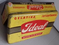 M#0V04 SCATOLA LATTA LITOGRAFATA PUBBLICITA' Gelatina Istantanea IDEAL C. Rebaudengo & Figli Torino - Boxes