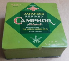 M#0V16 SCATOLA LATTA LITOGRAFATA PUBBLICITA' CAMPORA JAPANESE REFINED The Nippon Camphor Co. Ltd. KOBE JAPAN - Boxes