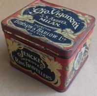 M#0V17 SCATOLA LATTA LITOGRAFATA PUBBLICITA' JENCKES IMPROVED RING TRAVELLERS - ARGENT FOR DOBSON & BARLOW BOLTON - Boxes