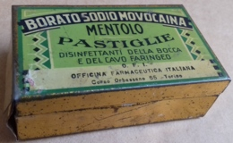 M#0V24 SCATOLA LATTA LITOGRAFATA PUBBLICITA' BORATO SODIO MOVOCAINA PASTIGLIE MENTOLO O.F.I. Torino - Boxes