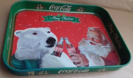 M#0V40 VASSOIO IN LATTA VINTAGE MERRY CHRISTMAS COCA COLA/BABBO NATALE SANTA CLAUS ORSO POLARE - Coca-Cola