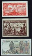 AFRIQUE Occidentale Française: Bon Lot De 3 Billets 1944/1952 - Banconote
