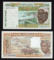 AFRIQUE: Banque Centrale Des Etats De L'Afrique De L'Ouest: Bon Lot De 2 Billets 500 F Et 1000 F - Banconote