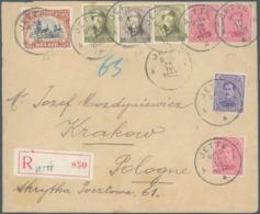 Aangetekende Zending Met Gemengde Frankering N°138(2)-139-142/143- 166(2)-165 JETTE 26 IV 1922 Naar KRAKOW (Polen) - 1919-1920  Cascos De Trinchera