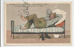 """Soldat Couché, Mouches Autour Des Pieds:"""" Je Pense à Toi Tout Le Temps ..."""" - Humor"""