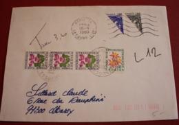 1980 Lettre Affranchie Sabine (timbres Coupés En Deux) Et Taxée 3F40 Timbres Taxe - Lettres Taxées
