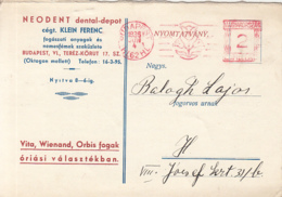 82612- AMOUNT 2, BUDAPEST, TULIP, RED MACHINE  STAMPS ON ADVERTISING FOR DENTAL PRODUCTS POSTCARD, 1936, HUNGARY - Hongrie