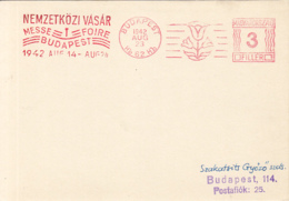 82651- AMOUNT 3, BUDAPEST INTERNATIONAL FAIR, TULIP, RED MACHINE STAMP ON CARDBOARD, 1942, HUNGARY - Covers & Documents