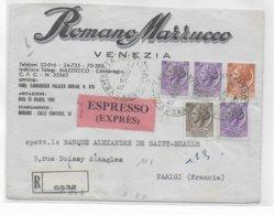 ITALIE - 1956 - ENVELOPPE EXPRES RECOMMANDEE De VENEZIA => PARIS - 6. 1946-.. Republik