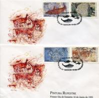 47486 Chile 2 FDC 1995,  Prehistory, Prehistorique, Rock Painting,peinture Rupestre,hohlenmalereie - Preistoria