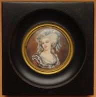 """Peinture MINIATURE XIXeme Siècle  """"Marie-Antoinette"""" D'après Vigée-Lebrun (Support Précieux) - Huiles"""