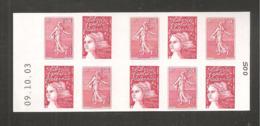 France, Carnet 1511, Daté, Carnet Neuf **, Non Plié, TTB, Carnet Semeuse De Roty, Marianne De Luquet, P3619, 3419a - Libretas