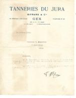 Facture 1933 / 01 GEX / Tanneries Du JURA / BIFRARE & Cie - Frankreich