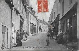 18 - CHER  - EN BERRY - LE  CHATELET  - LA RUE HAUTE ANIMEE CAFE COIFFEUR ENFANT AU CERCEAU ...POSTEE EN 1909 - France
