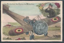 CPA Un Baiser Du Camp De Beverloo + Avion Militaire Couleur - Beringen