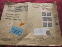 Danmark Rekommanderet-Postopkroevning Contre Remboursement Recom Douanes Danemark 1981-90 Lettre Document Poste Aérienne - Denmark