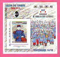 BLOC CNEP 2014 N° 66 ** - LE SALON DU TIMBRE PARIS  GUERRE 1914/18 - PREMIER MORT POUR LA FRANCE  CAPORAL PEUGEOT - CNEP