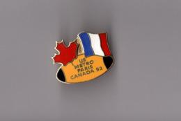 Pin's Rugby / US Métro Paris Union Sportive Métropolitaine Des Transports - Canada 1992 (EGF Doré) Longueur: 2,6 Cm - Rugby