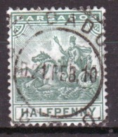 Barbados 1905 Seal Of The Colony Single One Half Penny Stamp. - Barbados (...-1966)