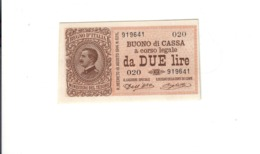 2 Lire Buono Di Cassa Serie 020 21 09 1914 Fds  LOTTO 2863 - [ 1] …-1946 : Royaume