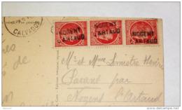 Griffe Linéaire Arrivée Nogent L'Artaud ( Aisne 02 ) Sur Ceres De Mazelin  - Sur CPA Caen Départ - Postmark Collection (Covers)