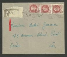 VAR / étiquette Recommandée Assurances Sociales SANARY SUR MER 30.10.1944 >>> TOULON / Petain - 1921-1960: Moderne