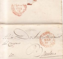 Año 1846  Prefilatelia Lerida A Barcelona  Envuelta  Marcas Lerida Cataluña - Spain
