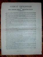 Notice Explicative Mine Mines Syndicat Espalionnais De Recherches Minérales Aveyron - Documents Historiques