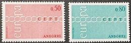 Cept 1971 Andorre Andorra  Yvertn° 212-213 *** MNH Cote 50 € Europa - 1971