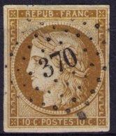 France Y&T N° 1 Cérès 10 C. 4 Grandes Marges Mais Aminci Oblitéré Losange PC 370 (BERGUES) - 1849-1850 Ceres