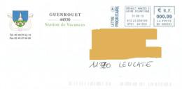 EMA MH 060393 Loire Atlantique Sur Enveloppe Illustrée Mairie Guenrouet Blason église Kirche Church - Marcofilie (Brieven)