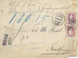 """R NN  """"Gemeindesteuerquittung Worb"""" - Konolfingen           1882 - Storia Postale"""