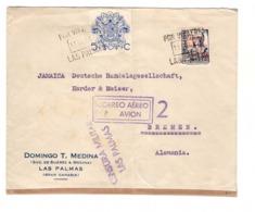 Lettre 1937 Espagne Canaries Censure Militaire Censura Par Via Aerea Las Palmas Pour Allemagne - 1931-Aujourd'hui: II. République - ....Juan Carlos I