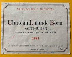 11689 -  Château Lalande-Borie 1981 Saint-Julien - Bordeaux