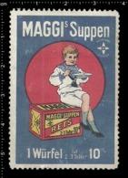 Old Poster Stamp Cinderella Reklamemarke Erinnofili Vignette Maggi's Suppen Soup's Food Essen Kid Kind. - Vignetten (Erinnophilie)