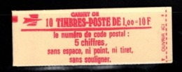 France Carnet 1972-C2 SABINE DE GANDON 1fr Ouvert Conf 6 - Carnets