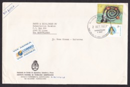 Argentina: Airmail Cover To Netherlands, 1997, 2 Stamps, Borges, Author, Literature, Art, Rare Air Label (traces Of Use) - Argentine