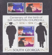 South Georgia 1974 Centenary Of The Birth Of Sir Winston Churchill 2 Stamps+Block MNH - Géorgie Du Sud