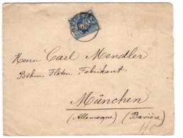 Lettre Grece Cachet 1891 Piraeus Le Pirée ΠΕΙΡΑΙΕΥΣ Pour Allemagne Muenchen Munich - 1886-1901 Small Hermes Heads