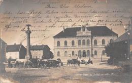 25 - Levier - Carte Photo - Place De L'Hôtel De Ville Animée Par Un Troupeau De Bovins - France