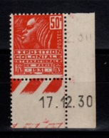 YV 272 N** Petit Coin Daté Exposition Coloniale Cote 1,50+ Euros - Ungebraucht