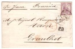 Lettre 1874 Espagne Regence Timbre Allégorie De La Justice 40c  Violet N°146 Pour Graulhet France - 1873-74 Régence