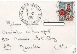 LSC 1967 - Cachet Perlé - PIERREVERT (Basses Alpes) Sur Mignonette - 1961-....